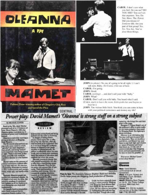 (top) Oleanna (1992) by David Mamet; (bottom) Michael Lasser's review, Democrat and Chronicle, Wed, Oct 11, 1995 · Page 25