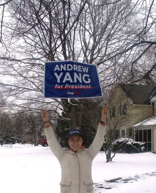 The First Presidential Yard Sign in Brighton in this Winter Snow