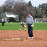 "Brighton Town Supervisor Bill ""Shohei"" Moehle throws out first pitch, goes two for three with 2 RBI's in the Game at the Corners"