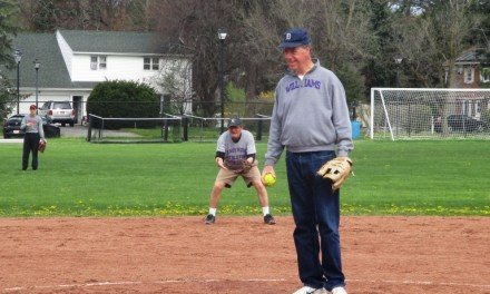 """Brighton Town Supervisor Bill """"Shohei"""" Moehle throws out first pitch, goes two for three with 2 RBI's in the Game at the Corners"""