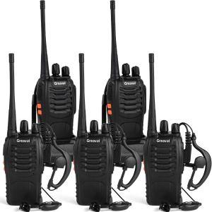 Talkies-walkies rechargeables Greaval pour adultes longue portée avec écouteur pack de 5