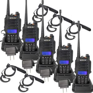 Radios bidirectionnelles Retevis RT6 étanches 128 canaux 5W VHF UHF double bande