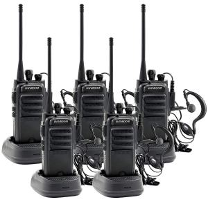 Winmoom Adult walkie talkies Rechargeable Long Range Two-Way Radios with Earpiece 5 Pack
