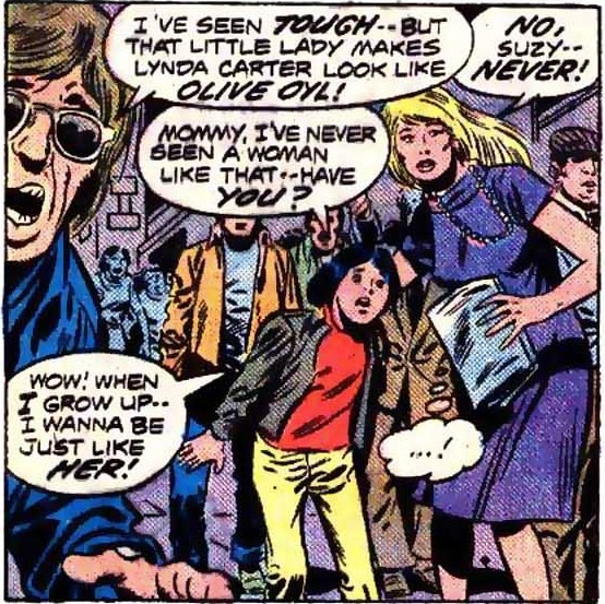 Panel from Ms. Marvel #1 (1977): Onlookers: