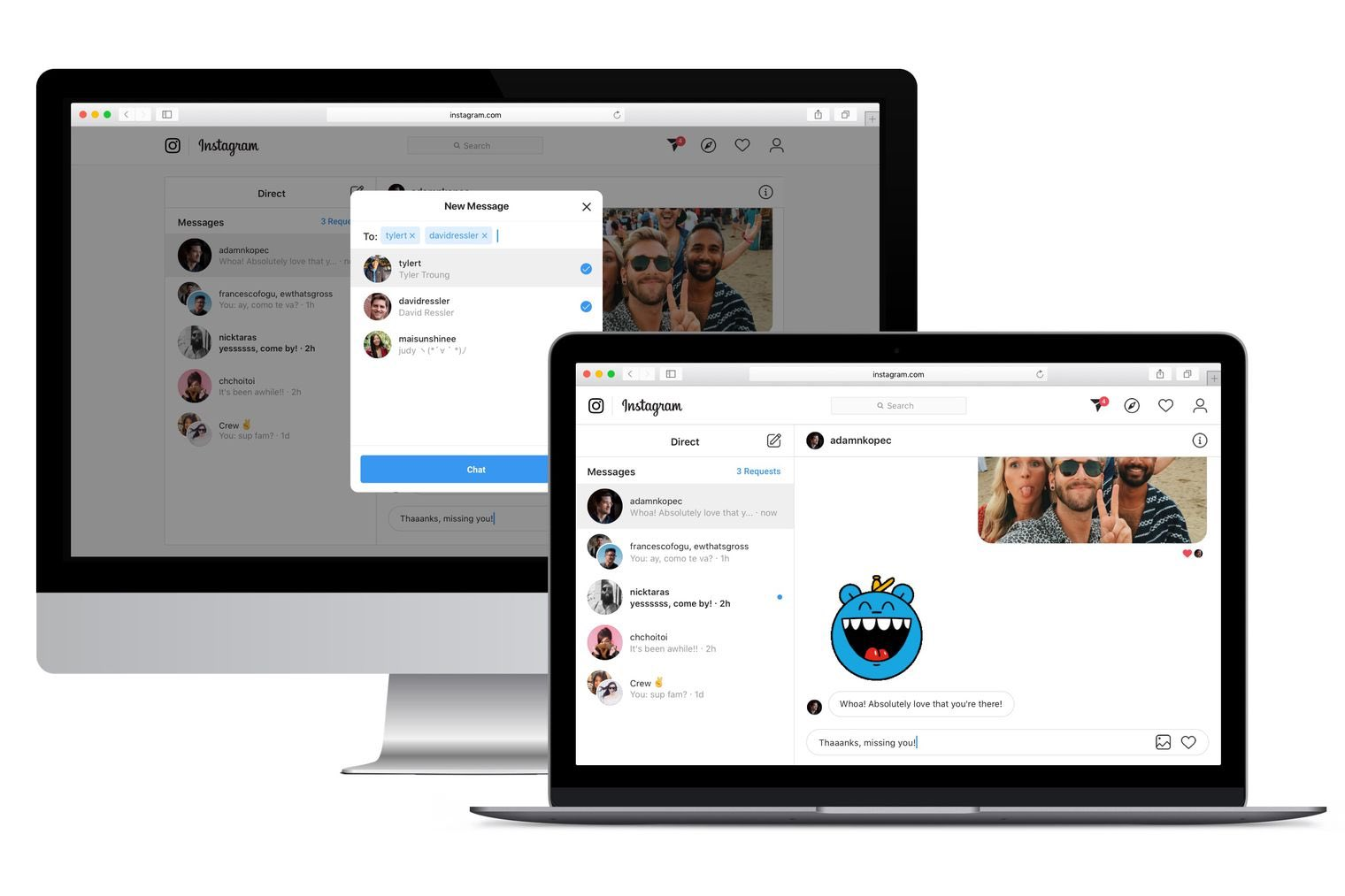 instagram direct messaging on the web