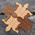 Light and dark wooden tiling turtles