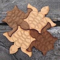 Dark and light wood tiling turtles
