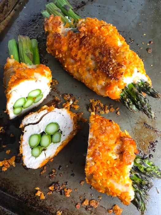 4-Ingredient DORITO CHICKEN and Asparagus Rolls!  Yes, Doritos, my friend.  The Doritos add a salty and crispy crust to the outside of the chicken with a hint of cheesy flavor.  The Chicken stays moist and juicy rolled up and you get this fresh bite of Spring in the center with the Asparagus.