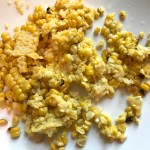 Corn kernels cut off cob for Chipotle Meatballs with Mexican Corn Cream Sauce