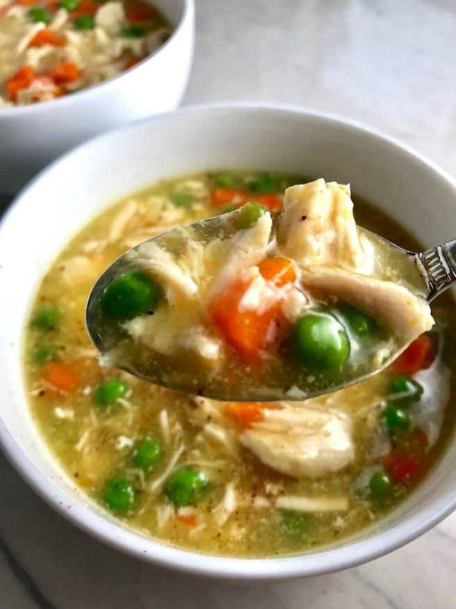 5-Ingredient Chunky Chicken Vegetable Soup is creamy (but there is no dairy!) and chunky, and delicious! With loads of chicken, carrots, and peas, t's full of flavor and texture even though it only has 5 ingredients. With a soup this chunky and hearty, who needs noodles!