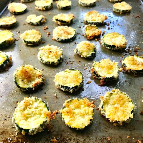 Zucchini chips cooked on pan