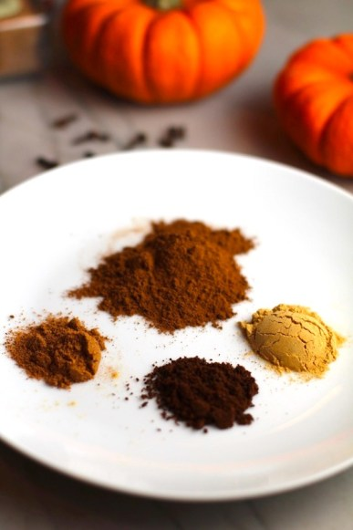 Spices on plate, clockwise: Cinnamon, Ginger, Clove, Nutmeg. This Pumpkin Spice Recipe has 4 simple ingredients and takes minutes to make! PLUS, here are 20 EASY WAYS TO USE this Spice blend, many with no baking at all!