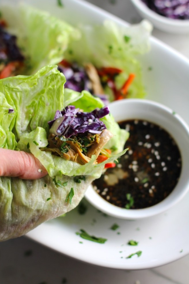 Asian Lettuce Wrap being dipped into sauce. They are a fantastic way to use leftover Turkey or Chicken transforming it with new delicious flavors and textures. The turkey is stir fried with carrots, red pepper, and brussel sprouts in a flavorful ginger, garlic, & sesame sauce. It's layered in lettuce wraps with rice and a cool, crunchy purple cabbage sesame slaw. Serve with a Garlic Honey Soy Sauce....YUM!!!