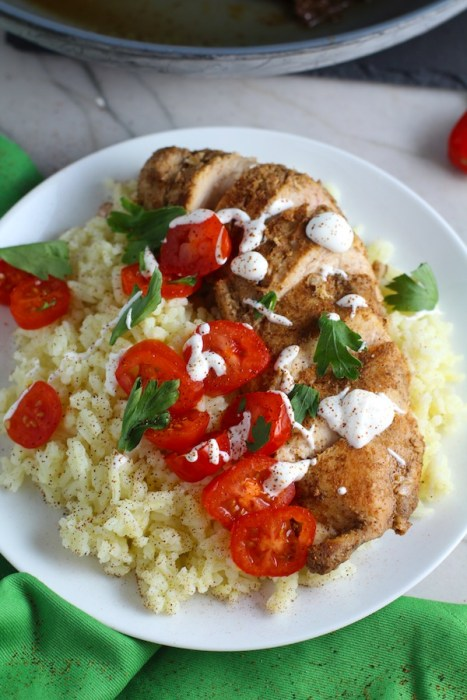 Sliced Mexican Chicken on rice with tomatoes, sour cream, & cilantro. This marinade is an easy, make-ahead, and delicious recipe! The chicken is infused with so much smokey, savory flavors from the fresh garlic, chili powder, and cumin.  #marinade #chicken #easydinners