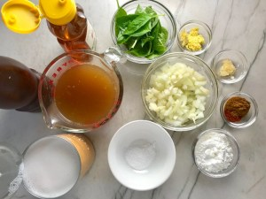 Ingredients for Chickpea Coconut Curry. The sauce has onion, coconut milk, ginger, garlic, and warm Indian Curry spices.