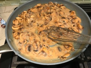 Thick, creamy, rich Mushroom Sauce in skillet. #vegetarian #healthydinner #dinnerideas #mushrooms