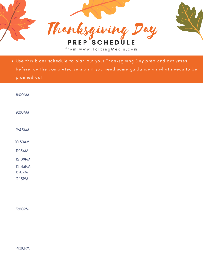 Thanksgiving Day Prep Schedule as part of the Thanksgiving Dinner Meal Planner & Prep Guide