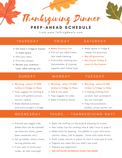 Prep Ahead schedule for Thanksgiving Dinner Meal Planner & Prep Guide