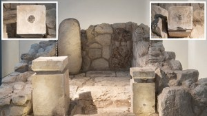 The shrine at Tel Arad, rebuilt from original finds and displayed at the Israel Museum. The two altars are shown, one with frankincense residue (left) and one with cannabis residue (right). Credit: Laura Lachman