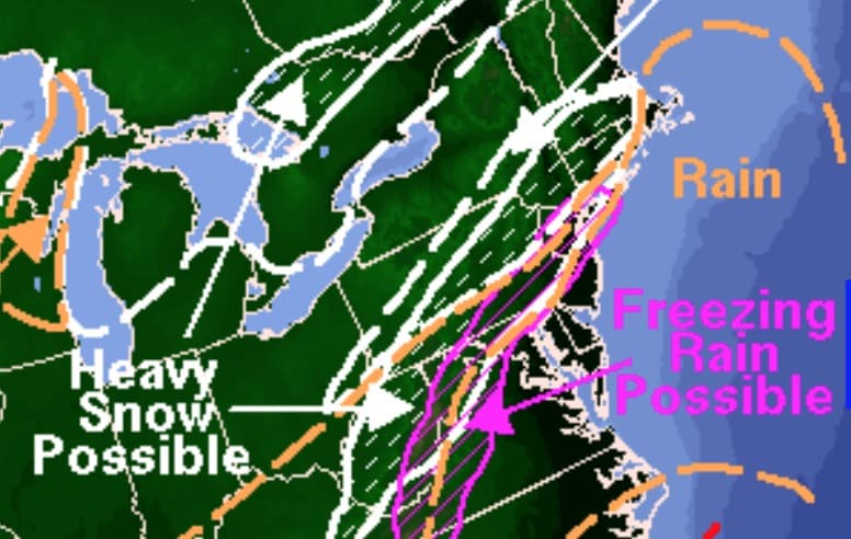National Weather Service weekend forecast of snow and freezing rain expected to hit New Rochelle on Saturday