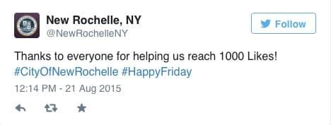 City of New Rochelle Celebrates 1,000 Likes