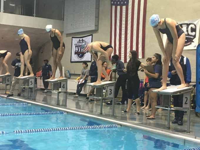 Womens Swimming Defeats York, Falls to Queens College.JPG
