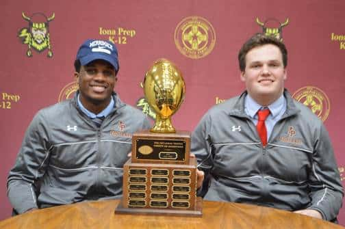 L to R: Iona Prep seniors Rodney Samson, Jr. and John Tyrrell both signed National Letters of Intent this week.