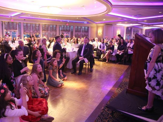 Ainsley Jones looks out at the crowd at the 2017 We Are One 20th Anniversary dinner May 4, 2017, at the V.I.P. Country Club in New Rochelle. (Photo: Deborah J Karson Photography)