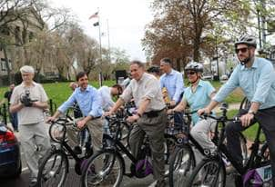 Pictured left to right: New Rochelle Mayor Noam Bramson, City Manager Charles B. Strome, III, Development Commissioner Luiz Aragon, Deputy Commissioner of Development Gina D'Agrosa and Director of Planning and Sustainability Kevin Kain take an inaugural b