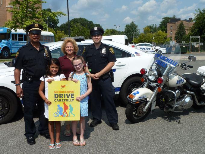 "New Rochelle Police Help Launch ""School's Open - Drive Carefully"""