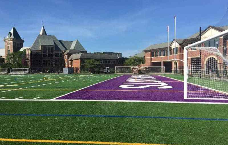 The north field on the North Avenue side of the high school has been installed.