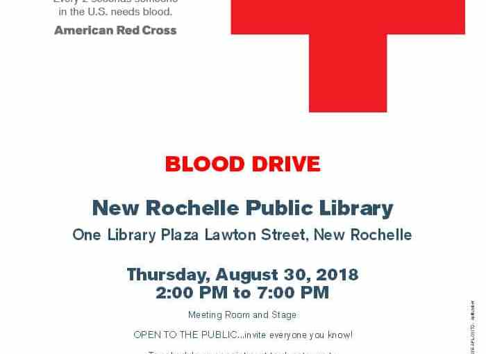 30 Blood Drive at New Rochelle Public Library 2 PM