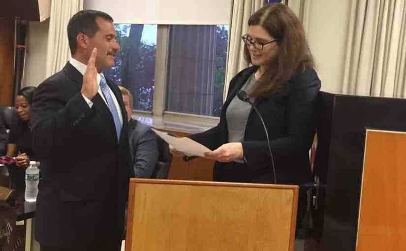 Christopher Daniello Sworn in by Board President Rachel Relkin