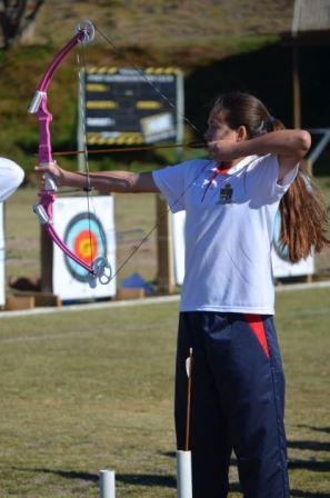 TAKING AIM: Jade van Staden of Port Alfred High School in the senior section of the El Shaddai Bulls Eye Archery Competition held at the Port Alfred Country Club last Saturday Picture: JON HOUZET