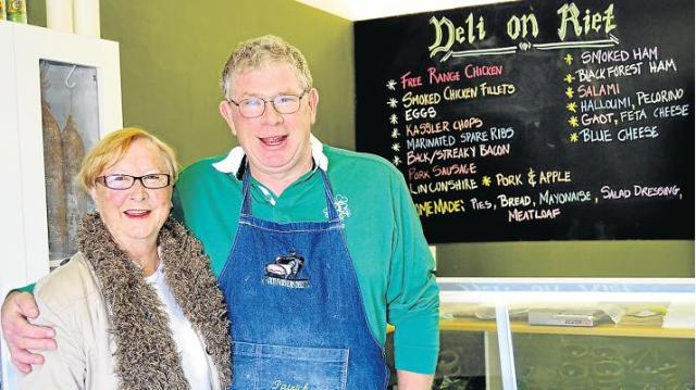 TRADITION AT ITS BEST: Patrick Grafton and Brenda 'Mrs Tweedie' Richmond in front of the cheese fridge in the newly opened Deli and Flowers on Riet. 'Mrs Tweedie' is the mastermind behind Grafton's pork pie supply. At the other end of the shop customers can have a look through the beautiful selection of fresh flowers. Picture: LOUISE CARTER