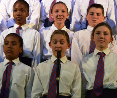 CHORUS OF ANGELS: Jami Weeber and the choir sang Doh Ray Me at the Port Alfred High School intermediate phase prize giving last Wednesday Picture: LOUISE KNOWLES