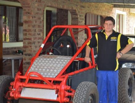 BATHURST 4X4 ENTHUSIAST: Neil Keeton (16) with the pipe car that he built himself using the suspension of a VW kombi and steel pipes from Algoa Steel