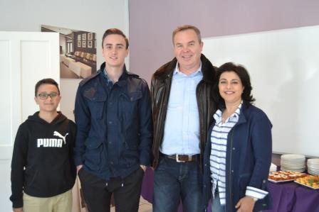 UNIVERSITY STUDENT: Alex Tiltman registered to study hospitality with his younger brother, Dimitri (left) and parents Dave and Despina coming along to give him moral support