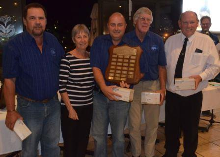 TOP TEAM: Winning the Claude Pittaway Shield as the top Rock and Surf team were, from left, Bruce Amos, Rose Bartlett who handed out the awards, Paul Knight, Don Murray and Terry Stewart Picture: JON HOUZET