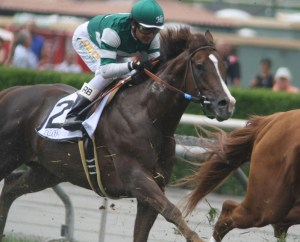 Talco on his way to winning the Grade 1 Shoemaker Mile at Santa Anita. Photo by Terri Keith.