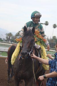 Victor Espinoza aboard Hard Aces. Photo by Terri Keith.