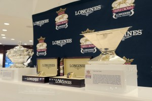 The Triple Crown Trophy is displayed at Hour Passion in New York, Tuesday, June 2, 2015.  Longines, the Swiss watch manufacturer known for its elegant timepieces, is the Official Watch and Timekeeper of the Triple Crown. (Photo by Diane Bondareff for Longines)