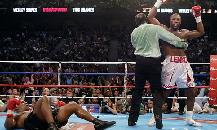 Lennox Lewis knocked down Mike Tyson in 2002 fight