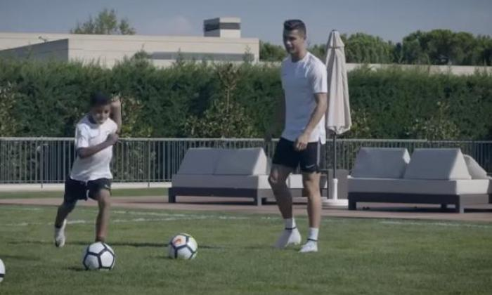 Cristiano Ronaldo's son practicing dad's famous free-kick technique as Rio Ferdinand granted access for Nike special
