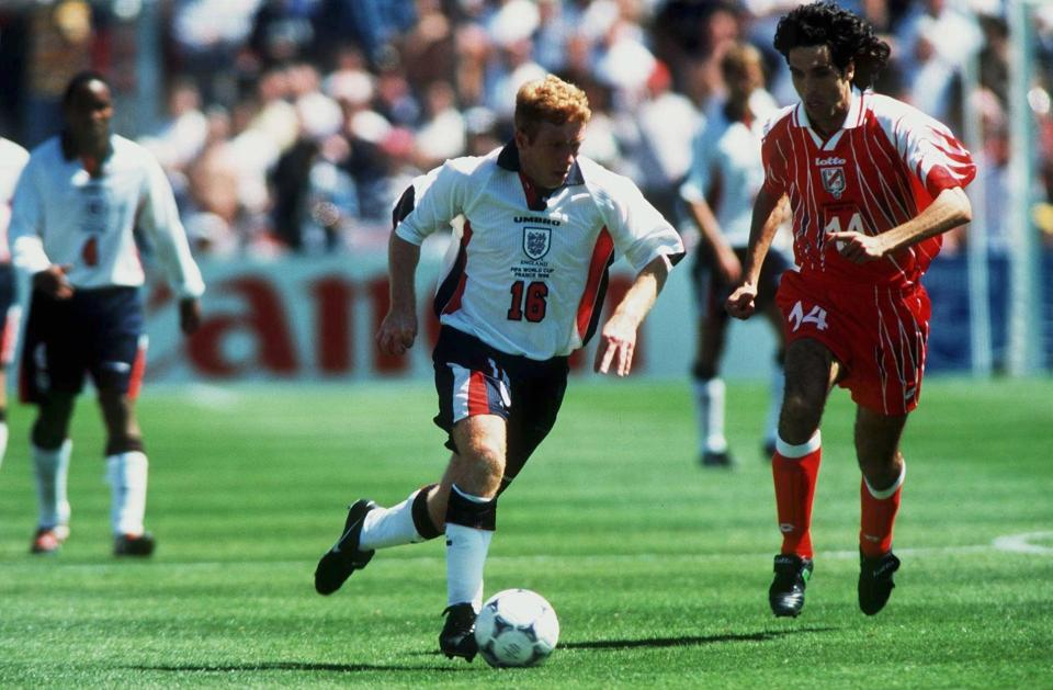 Paul Scholes in action at the 1998 World Cup  What happened when England met Tunisia before? GettyImages 52930999