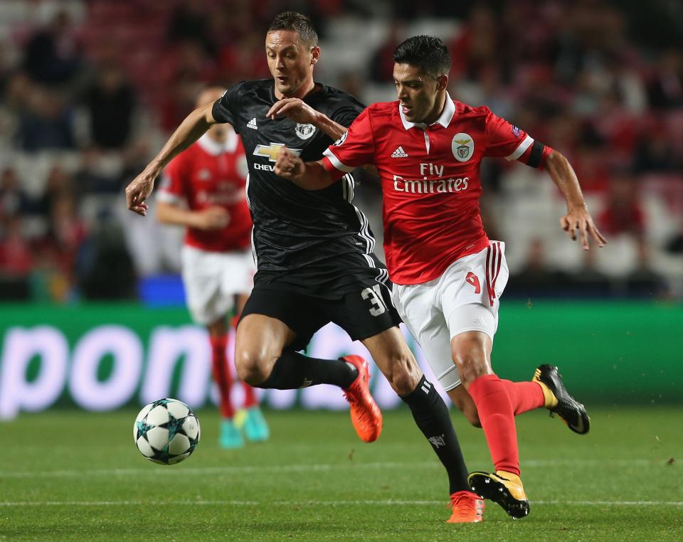 Jiminez in action against Manchester United star Nemanja Matic  Wolverhampton Wanderers confirm signing of Benfica striker Raul Jiminez on season-long loan GettyImages 862869920