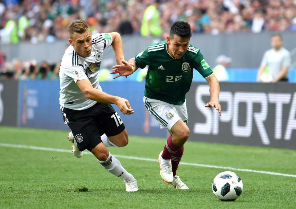 Lozano made German right-back Joshua Kimmich's life very hard all game  Profile on potential Chelsea and Manchester City transfer target Hirving Lozano who starred in Mexico's World Cup win over Germany GettyImages 977038490