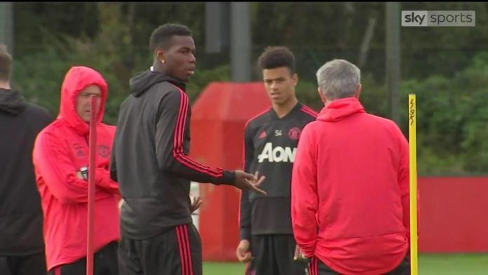 Paul Pogba and Jose Mourinho's training ground dispute earlier in the season was captured on television cameras