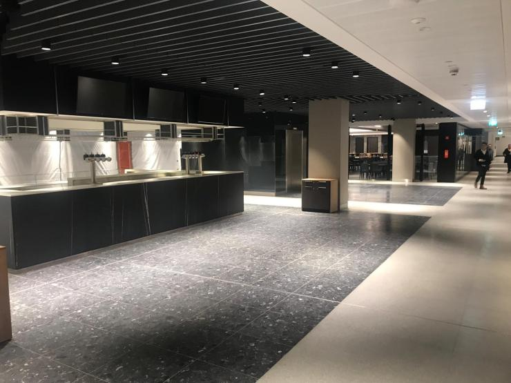 A hospitality lounge where guests can get their pre and post-match pints – Spurs say the old White Hart Lane is literally embedded into the new one as crushed aggregate – taken from the original stadium – was mixed in to the new concrete to give the shiny bronze finish throughout the concourses