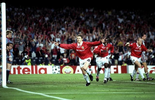 Ole Gunnar Solskjaer celebrates scoring the winning goal in Manchester United's Champions League final win over Bayern Munich in 1999